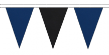 ROYAL BLUE AND BLACK TRIANGULAR BUNTING - 10m / 20m / 50m LENGTHS